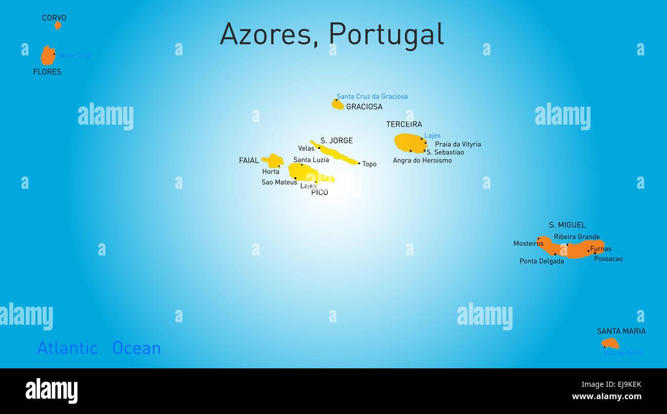 Azoren Karte Portugal.Karte Von Azoren Stockfoto Bild 80118155 Alamy