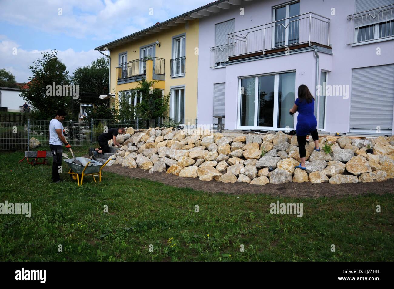 Terrasse Mit Kalk Steinen Und Granit Treppe Stockfoto Bild