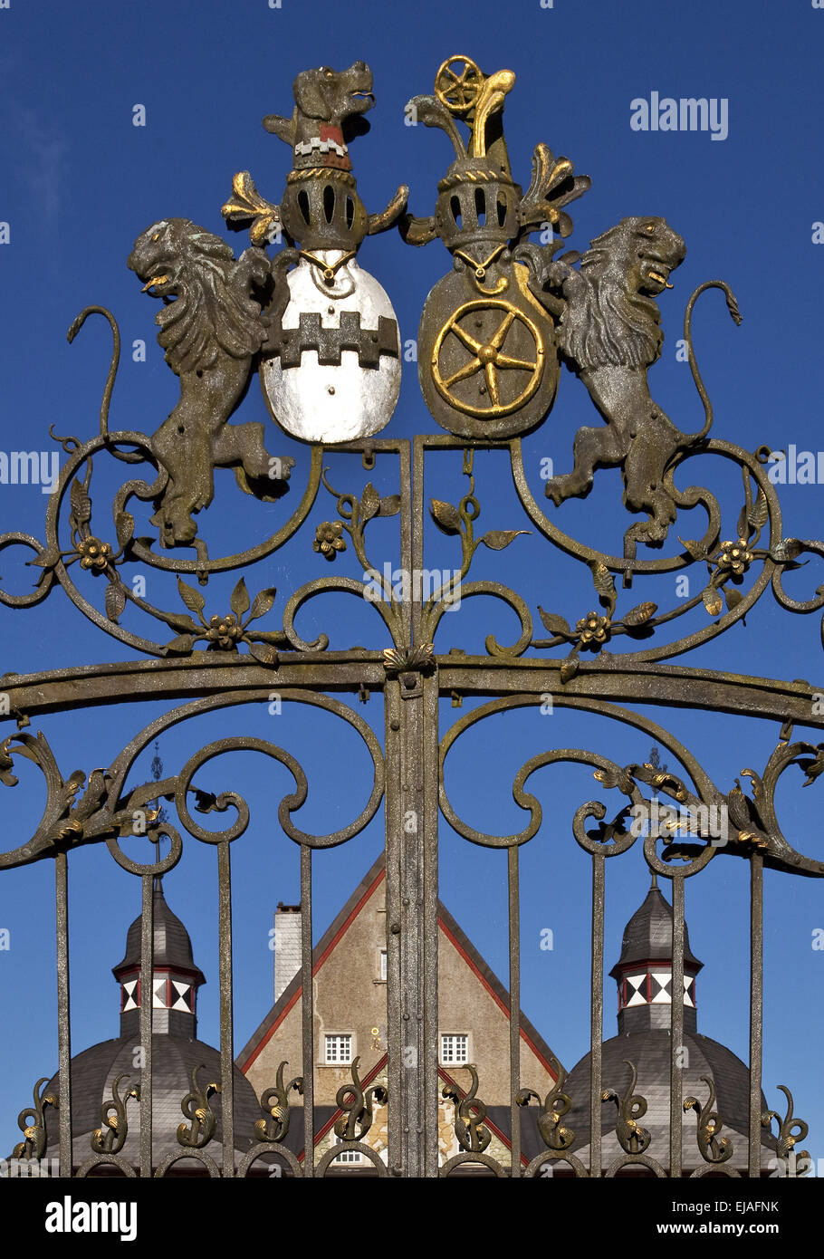 Eingangstor, Schloss Neuenhof, Lüdenscheid Stockbild