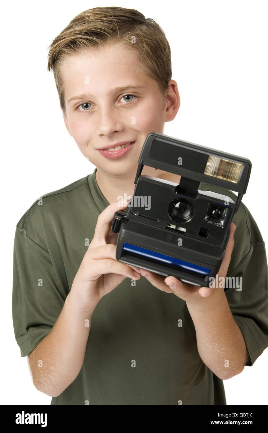 jungen zeigen quick-camera Stockfoto