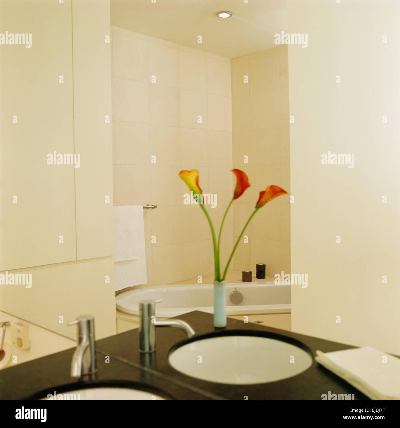 AuBergewohnlich Spiegel über Dem Waschtisch Mit Under Set Waschbecken Und Vase Calla Lilien  In Modernen Weißen Badezimmer