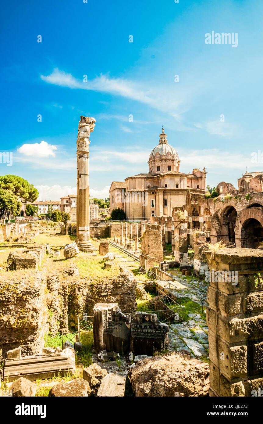 Ruinen des Forum Romanum Stockbild