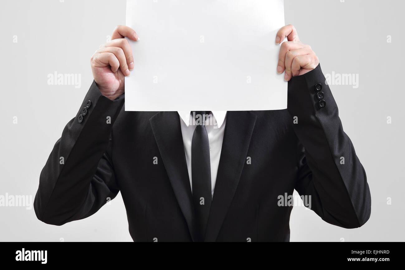 Geschäftsmann Handeln zeigen Papier für etwas kommunizieren Stockbild