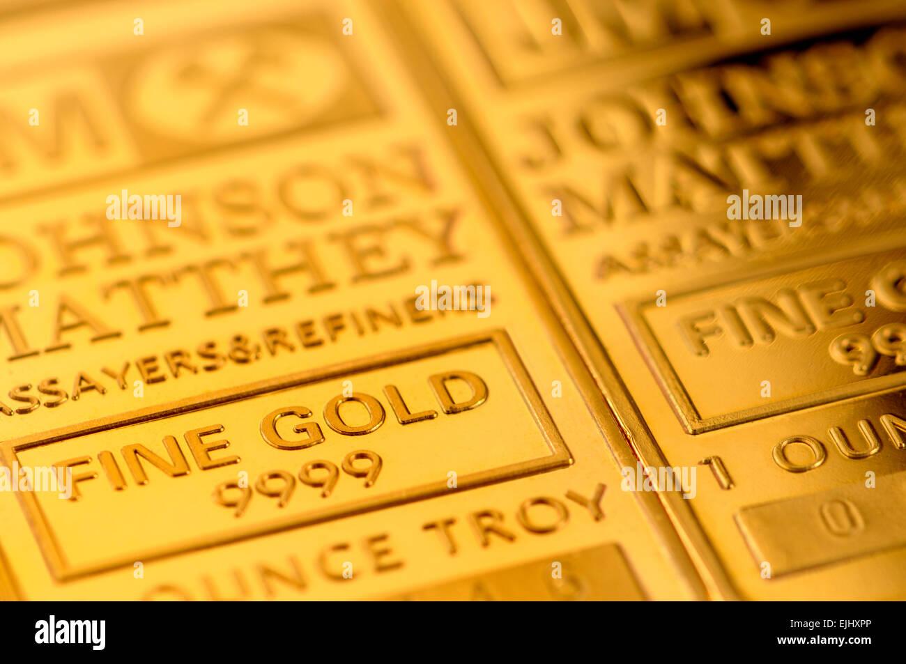 Goldbarren Barren (vergoldete Repliken) Stockbild