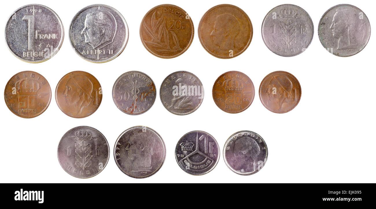 Verschiedene Alte Belgische Münzen Isoliert Auf Weißem Hintergrund