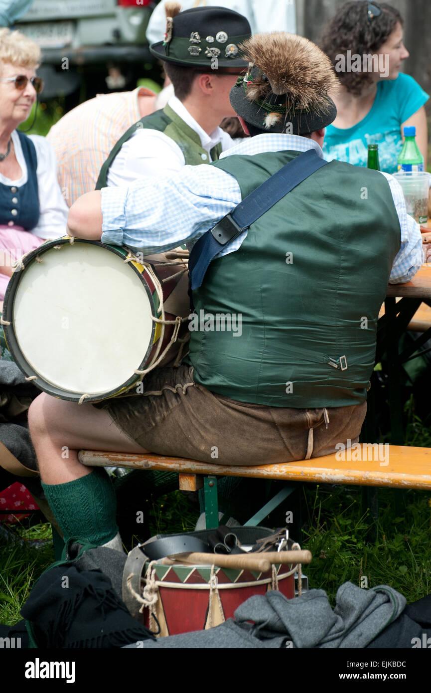 Musiker bin Pfeifertag, Blaa Alm, Altausseee, Salzkammergut, Steiermark, Österreich Stockbild