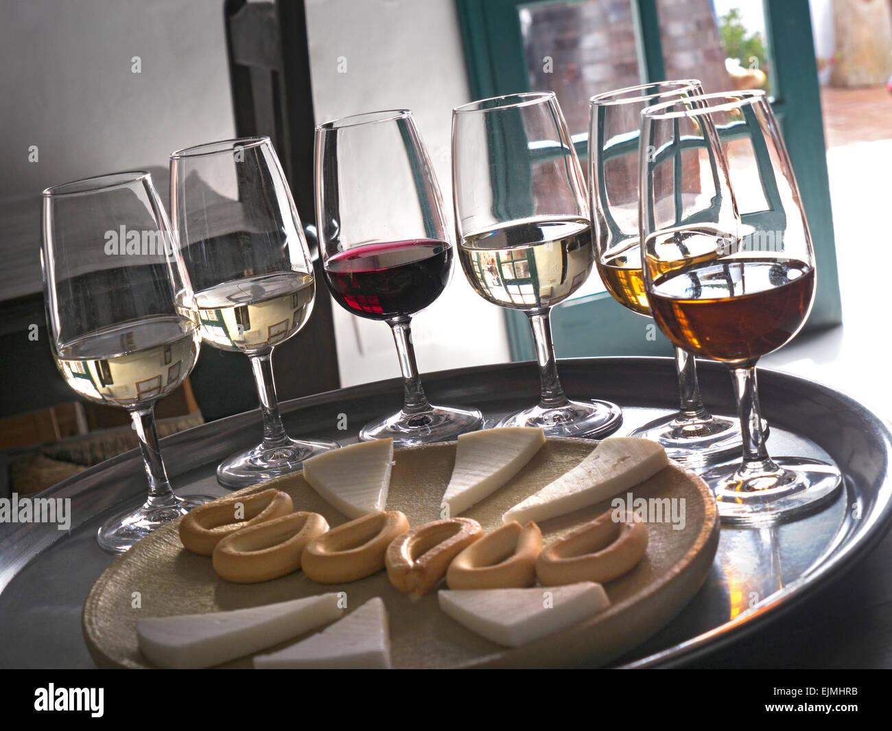 Weinprobe mit Auswahl an rot- und Weißweinen mit Käse und Hundekuchen Stockbild