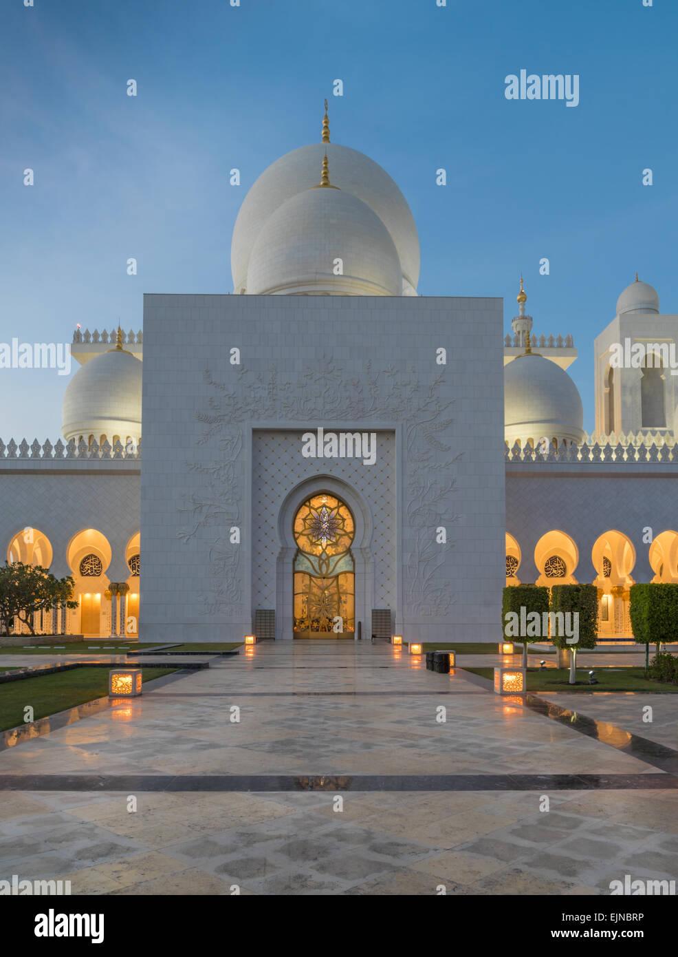 Sheikh Zayed Grand Moschee in Abu Dhabi Stockbild