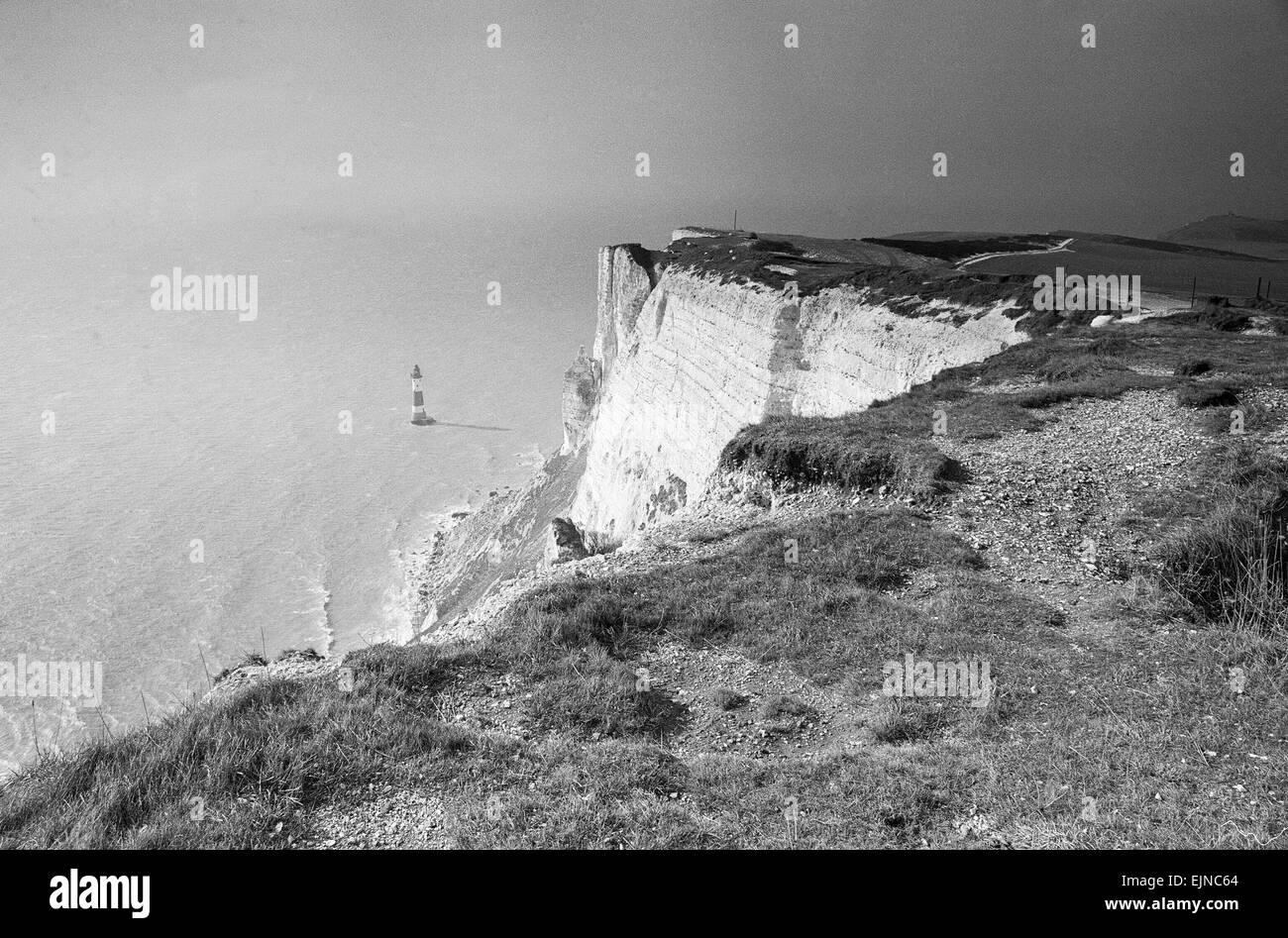 Beachy Head, East Sussex, 28. Februar 1986. Stockbild