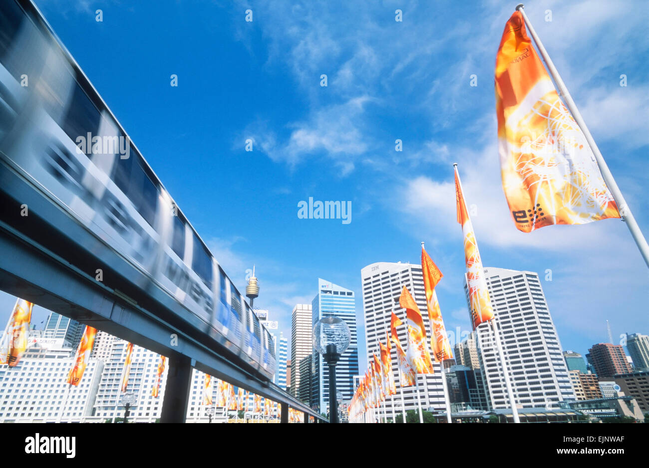 Darling Harbour Monorail Sydney New South Wales Australien Stockbild