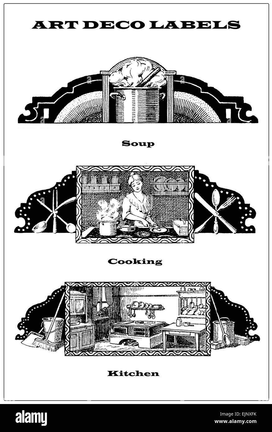 3 Vintage Grenzen - Etiketten über das Kochen, Küche und kochen ...