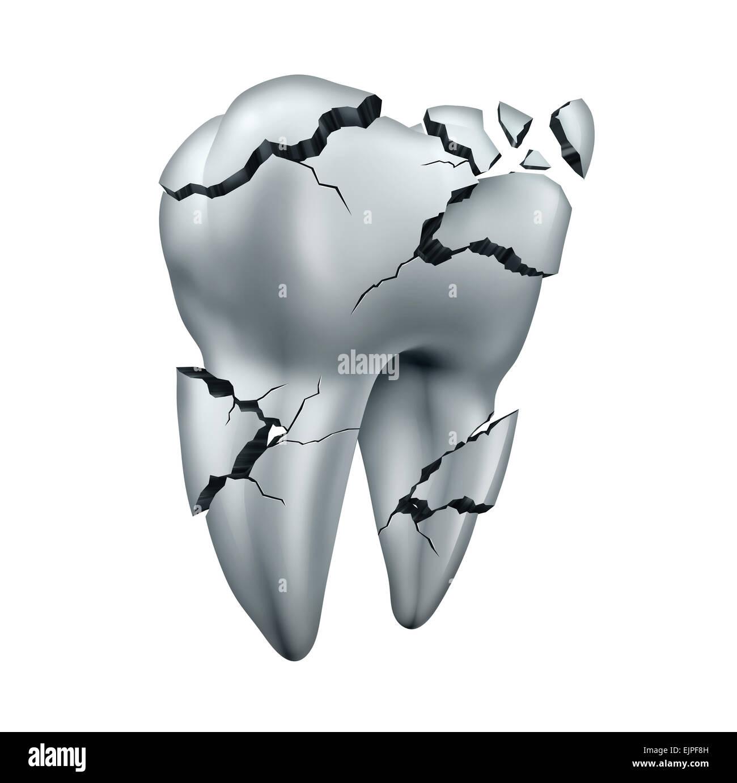 Abgebrochenen Zahn dental Symbol und Zahnschmerzen Zahnmedizin Konzept als eine einzelne rissige beschädigten Stockbild