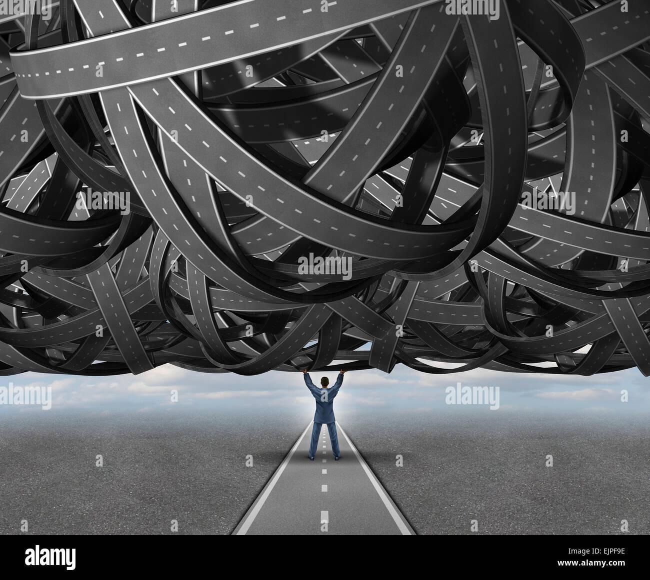 Lösungen Konzept Straße Metapher als ein Unternehmer heben eine große Gruppe von verschlungenen Straßen Stockbild