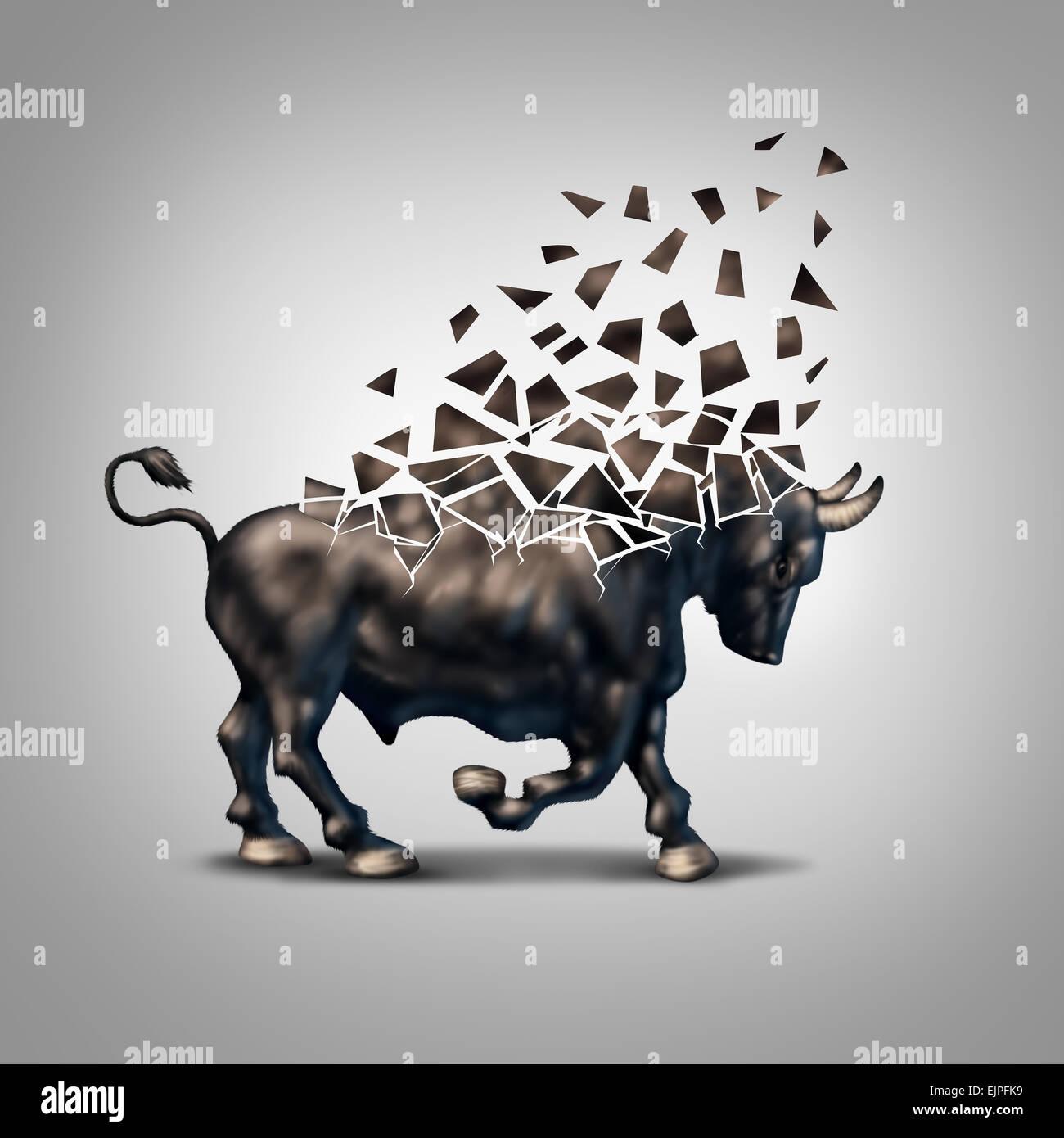 Fragile Bull Markt Finanzkrise Konzept als eine wirtschaftliche Symbol für eine bröckelnde positive Prognose Stockbild