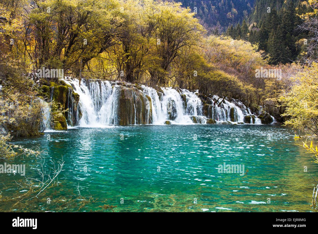 Pfeil Bambus Wasserfall Jiuzhaigou Landschaftlich In Sichuan China