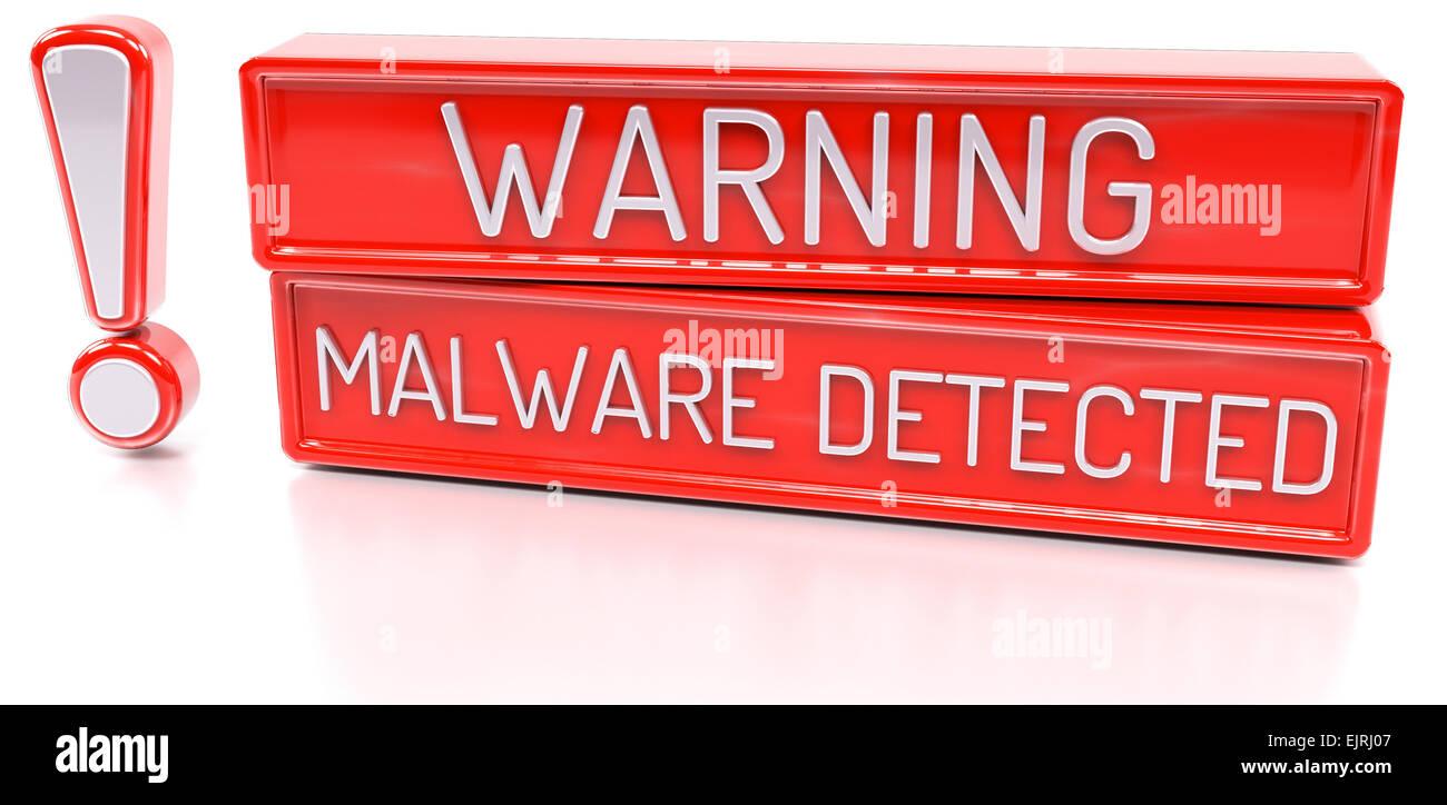 Achtung Malware erkannt: 3d Banner, isoliert auf weißem Hintergrund Stockbild