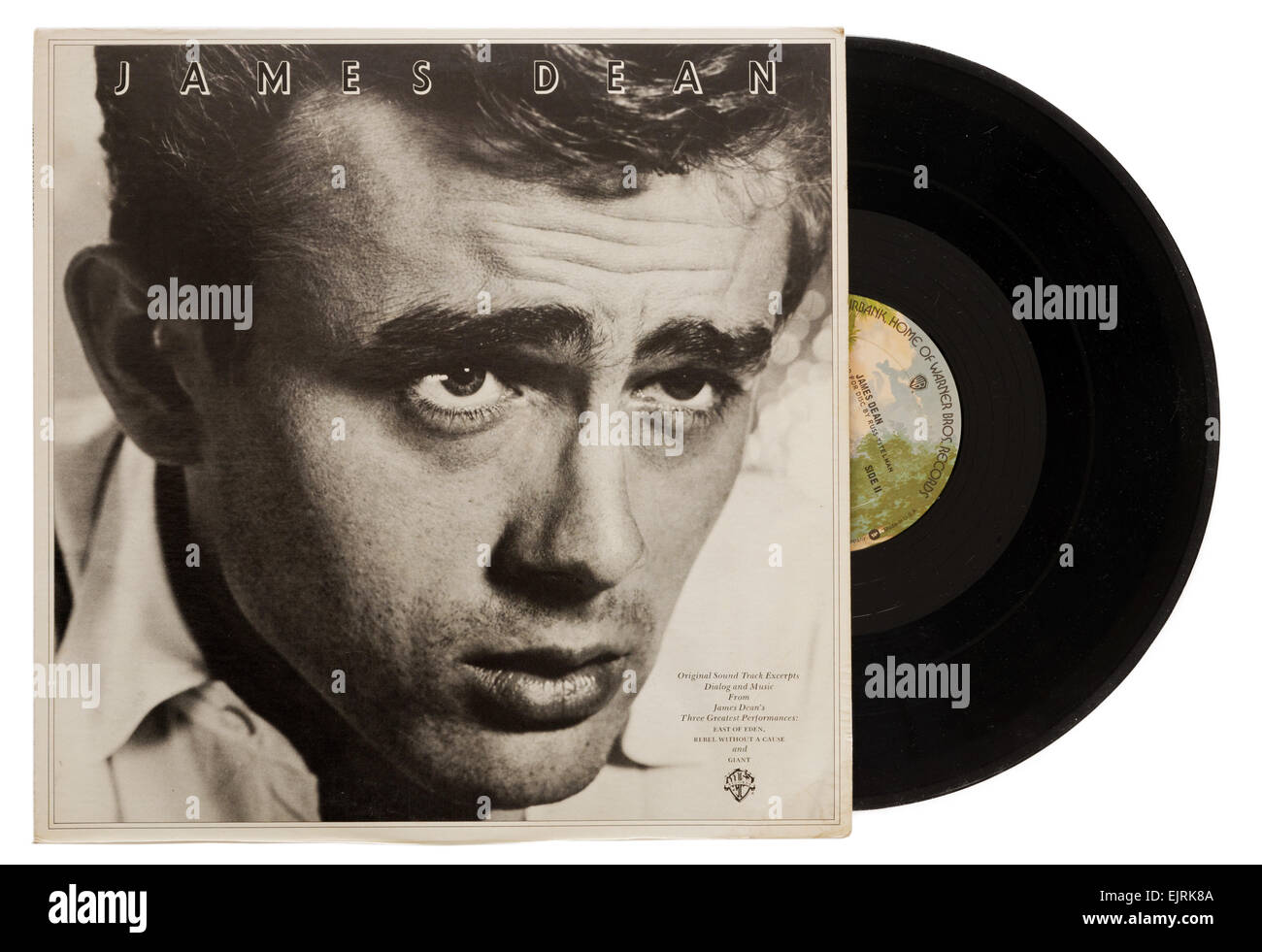 James Dean-Album des Dialogs und der Musik von East Of Eden und Rebel Without a Cause Stockbild
