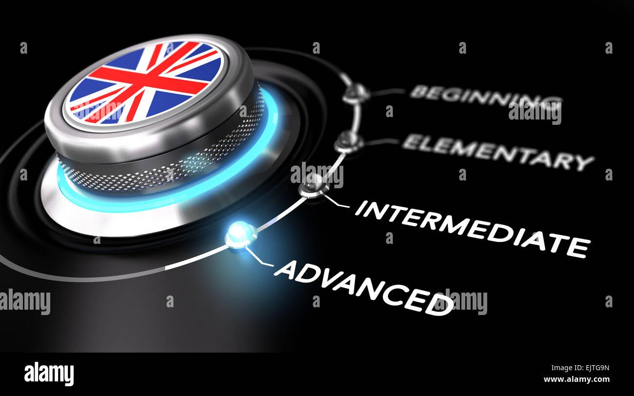 Moderne Schalter zeigt das Wort weit fortgeschritten. Schwarze Backgorund. Konzept der Englischkurse oder Sprache Stockbild