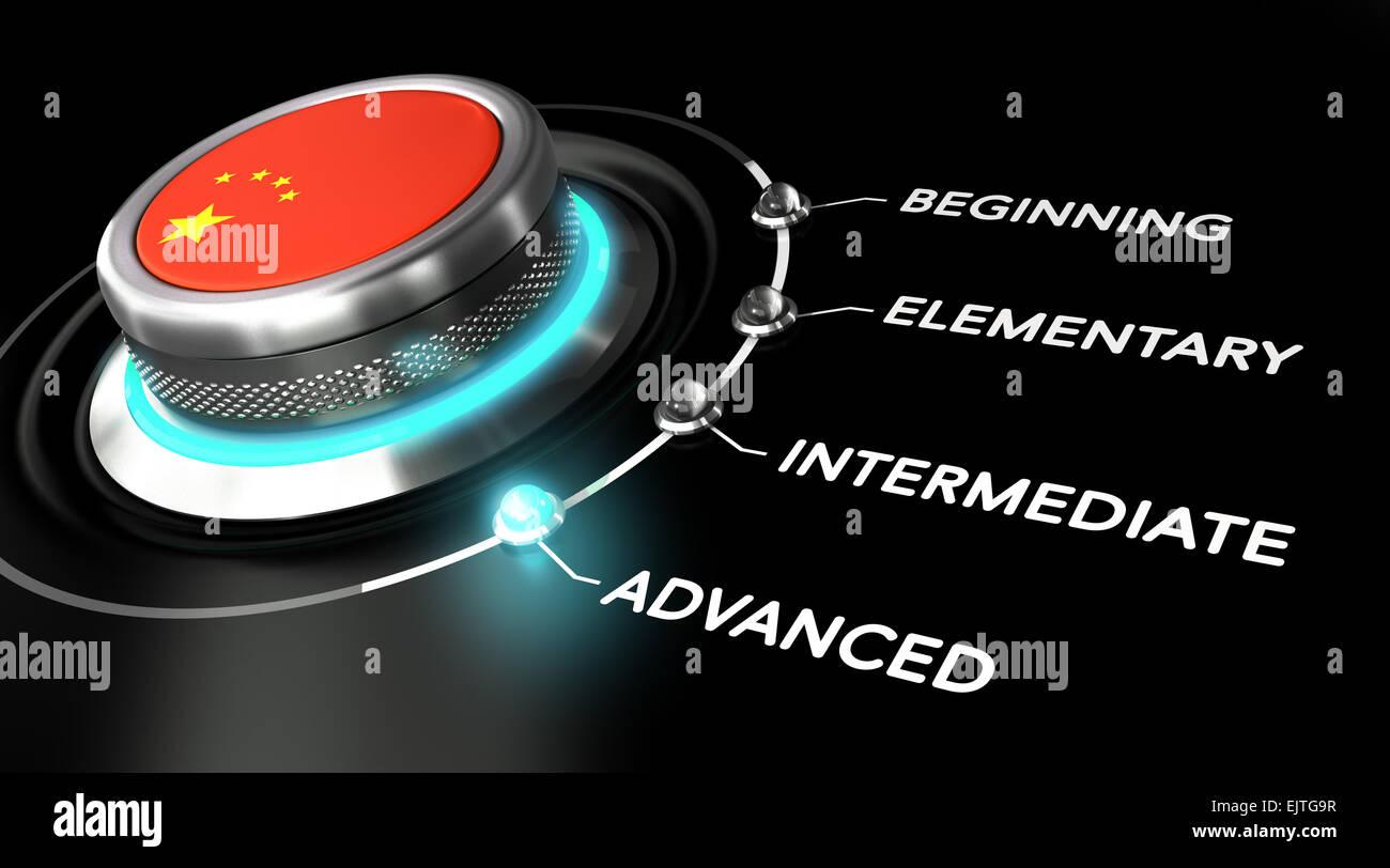 Moderne Schalter zeigt das Wort weit fortgeschritten. Schwarze Backgorund. Konzept der Chinesisch-Kurse oder Sprache Stockbild