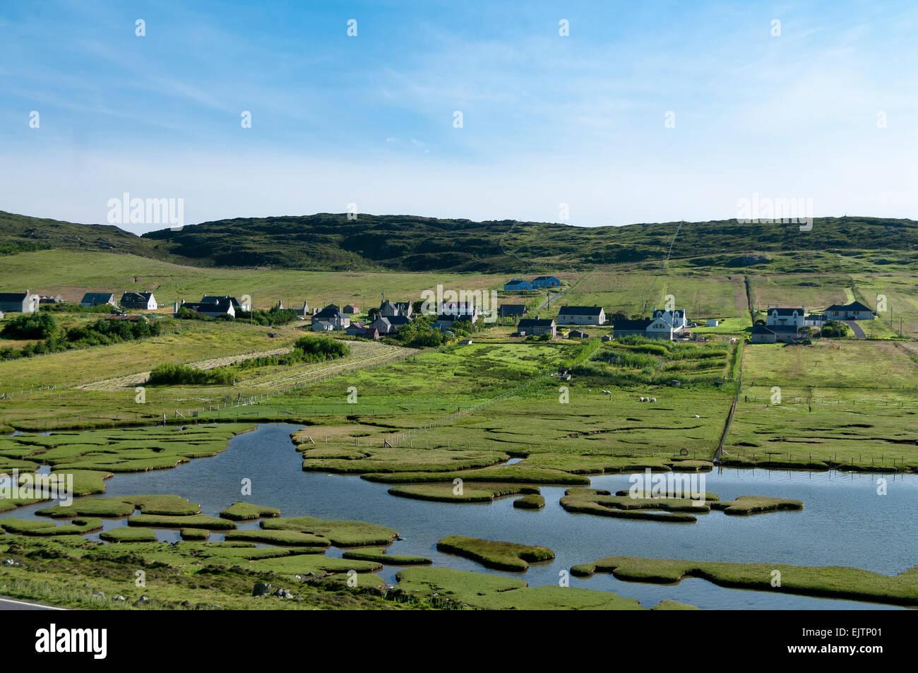 Leverburgh Landwirtschaft Gemeinschaft Runrig System Marsh landwirtschaftliche Siedlung Stockbild