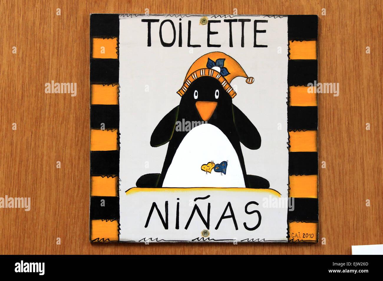 Badezimmer Wc Toilette Schild An Der Tur Lustige Zeichen Auf Der
