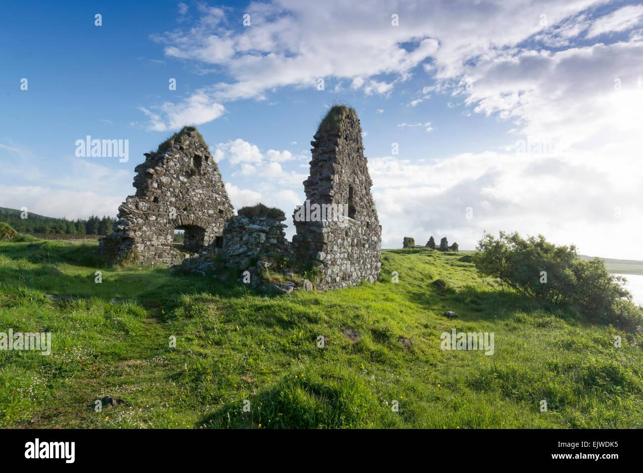 Finlaggan alte Ruinen, wo Herr der Inseln Sitz hatte Stockfoto