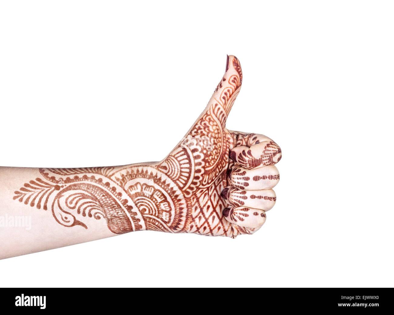 Frau Hand mit Henna tun Merudanda Mudra isoliert auf weißem Hintergrund mit clipping Stockbild