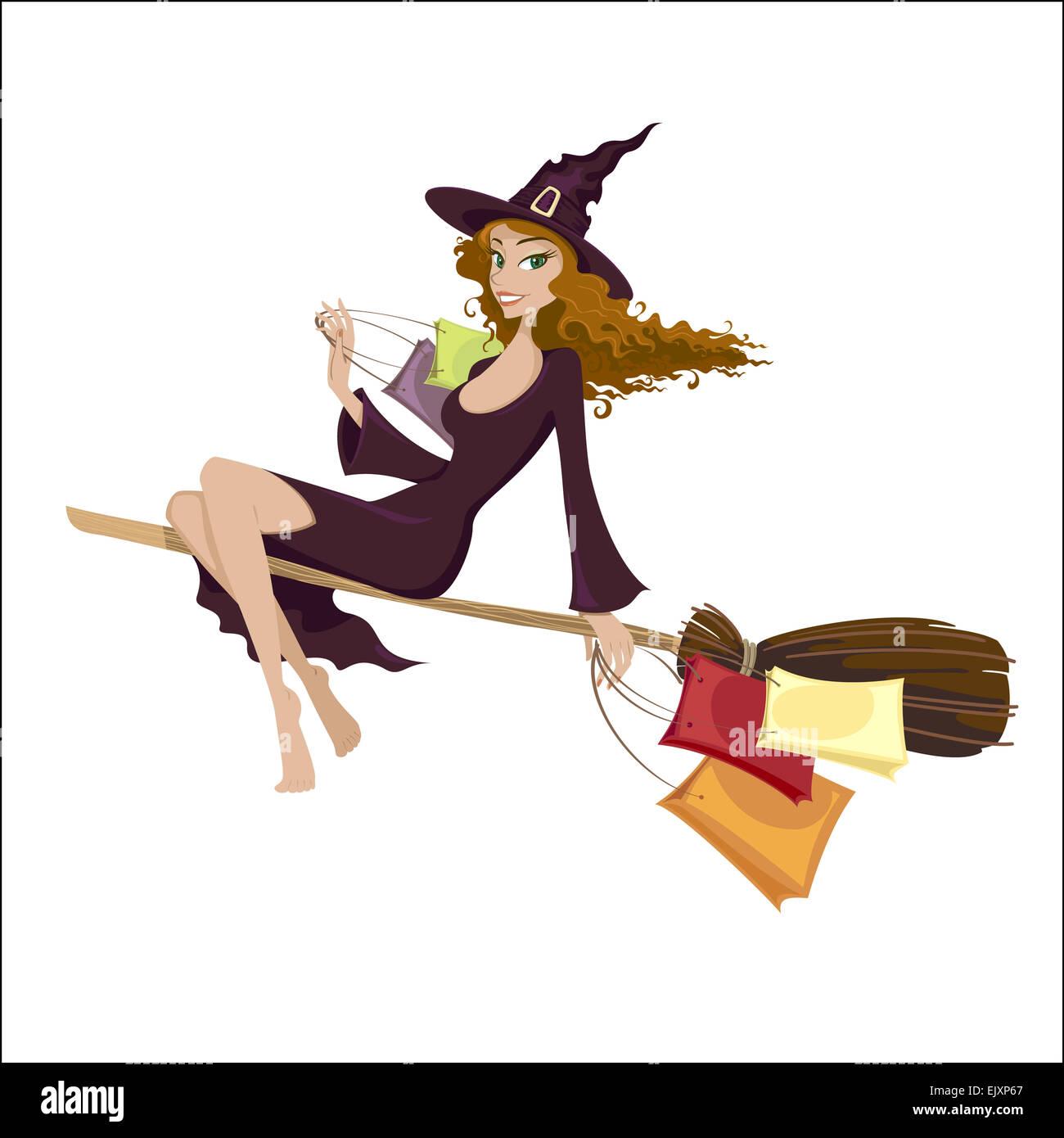 halloween hexe auf dem besen fliegen stockfoto bild 80493455 alamy. Black Bedroom Furniture Sets. Home Design Ideas