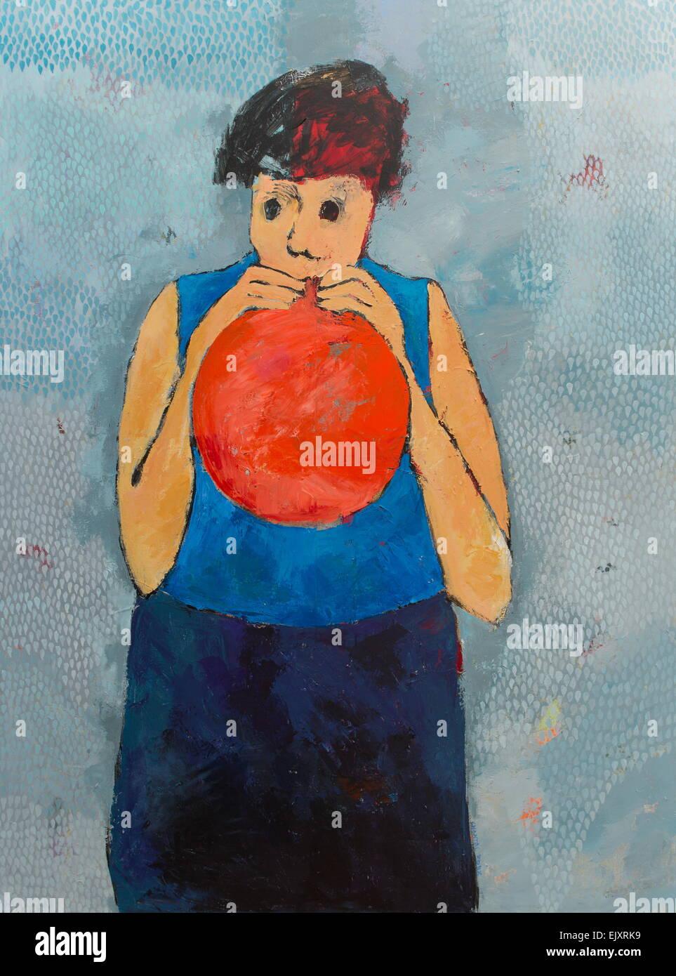 ActiveMuseum_0004635.jpg / The Red Balloon 26.06.2014 - verkauft / 21. Jahrhundert Chantal Roux / aktive Museum Stockbild