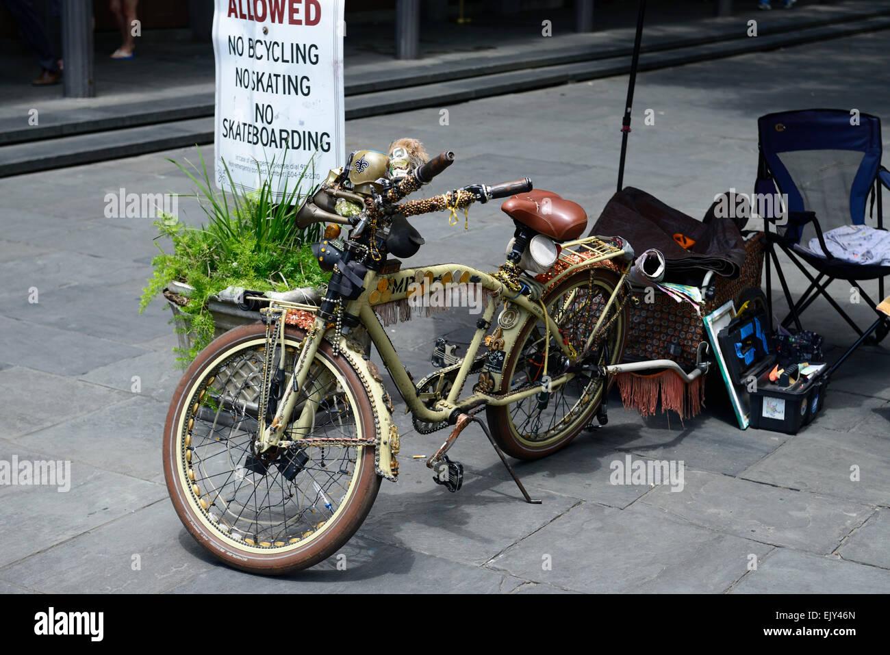gepimpt, ausgetrickst Fahrrad Laufräder Alternativen Look Rad Jackson square new Orleans RM USA Stockbild