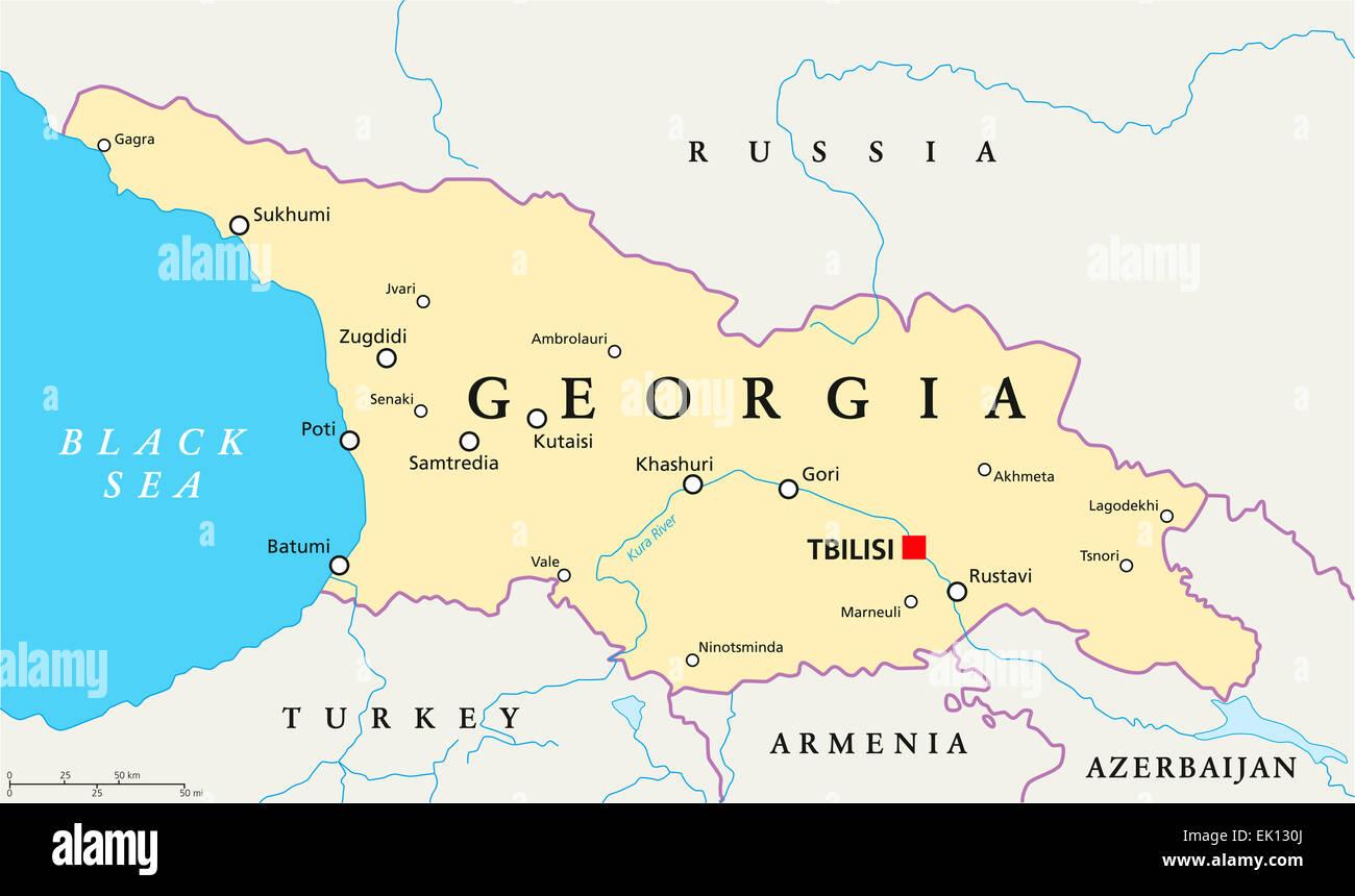 Georgien Karte Regionen.Georgien Politische Karte Mit Hauptstadt Tiflis Landesgrenzen