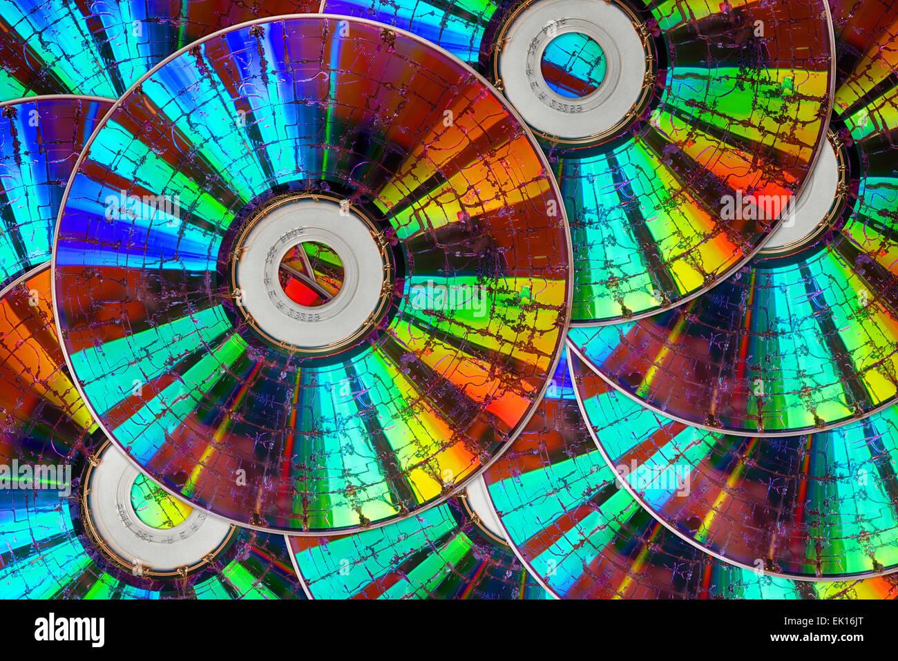 verlorene Daten Sicherheitsfehler auf rissige gebrochen master-Backup CD DVD disc unwiederbringliche Informationen Stockbild