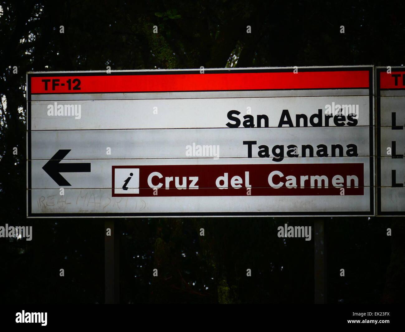 Verkehrszeichen San Andres Las Mercedes Las Canteras La Laguna Teneriffa Insel Kanaren Spanien Stockbild