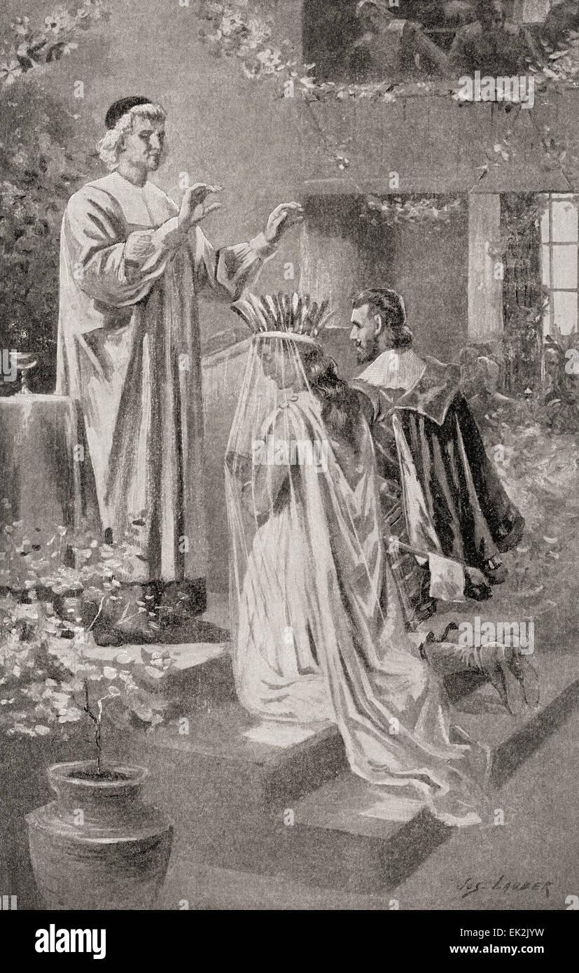 Die Ehe Von Pocahontas Und John Rolfe Im Jahr 1613 John Rolfe 1585