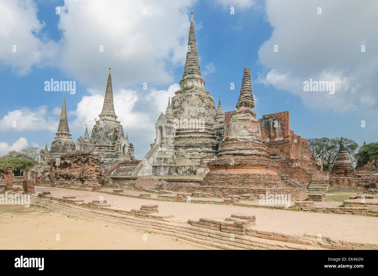 Alte Tempel-Architektur, Wat Phra Si Sanphet in Ayutthaya, Thailand, World Heritage Site Stockbild