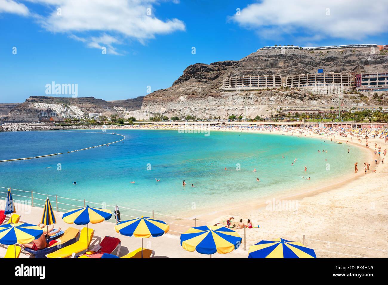 Playa de Amadores Strand. Gran Canaria, Kanarische Inseln. Spanien Stockbild