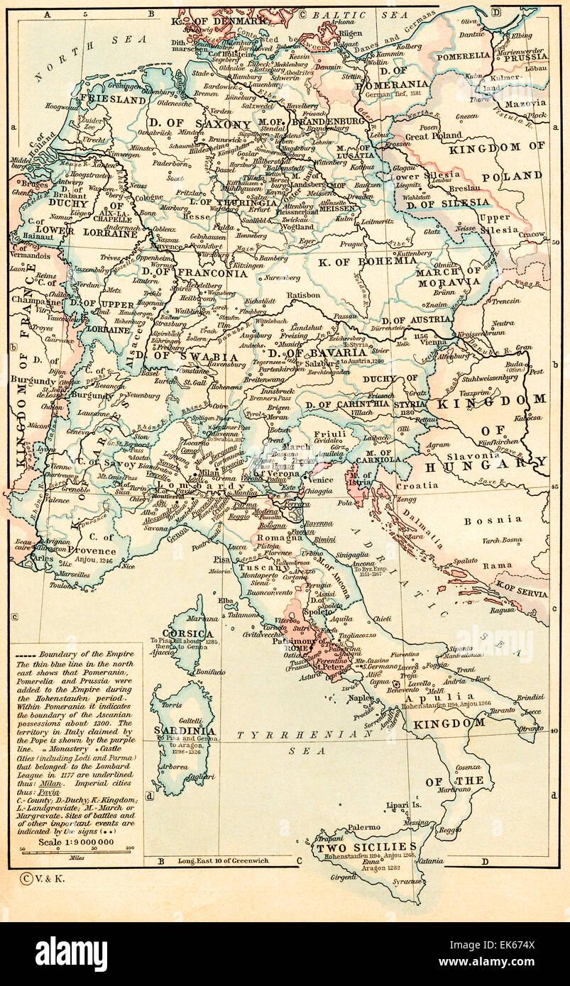 Heiliges Römisches Reich Karte.Karte Des Heiligen Römischen Reiches Unter Der Dynastie Der Staufer