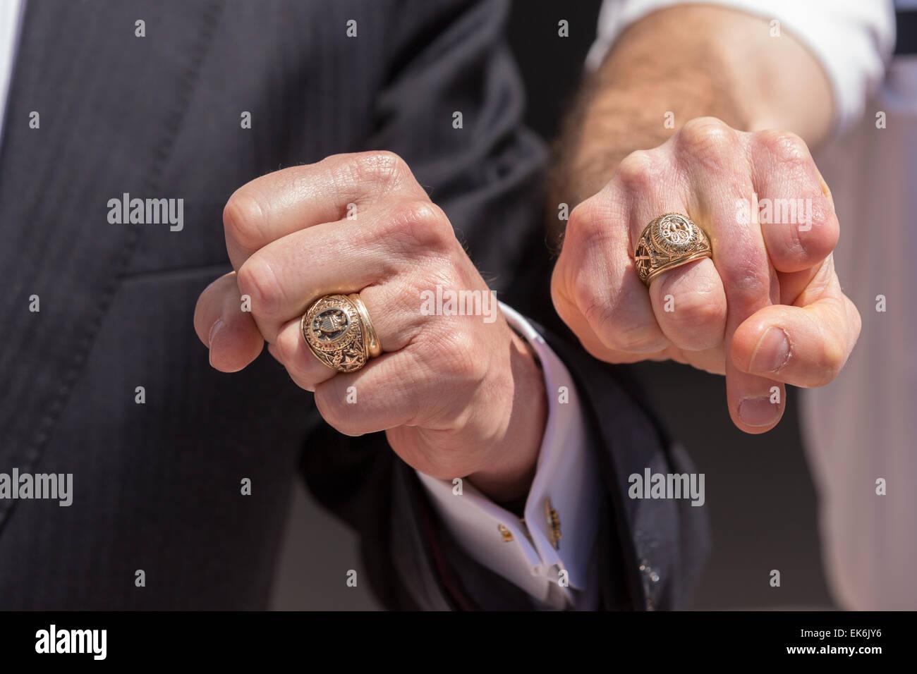 White Gold Aggie Ring