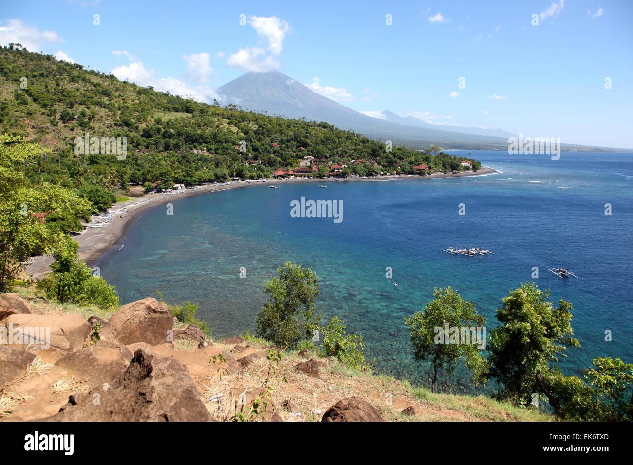 Bucht in dem Dorf Amed, Bali, Indonesien Stockbild