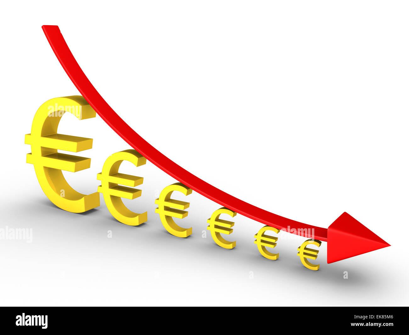 Graph fallen und Euro immer kleiner Stockbild