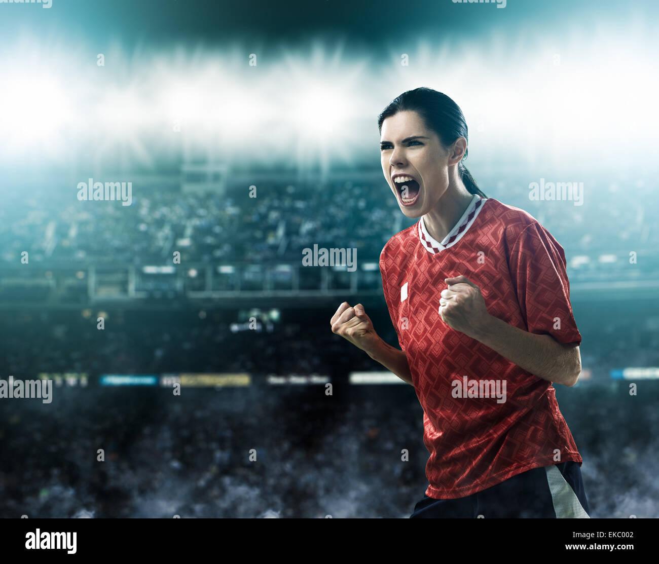 Fußballer feiern Ziel Stockfoto