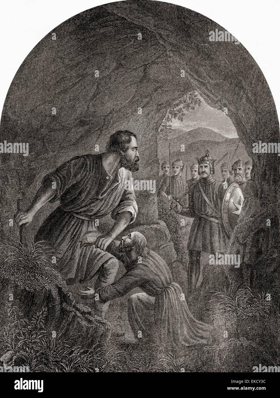 Riese Grim und schwachen Geist.  Von der Pilgerreise von John Bunyan. Stockbild