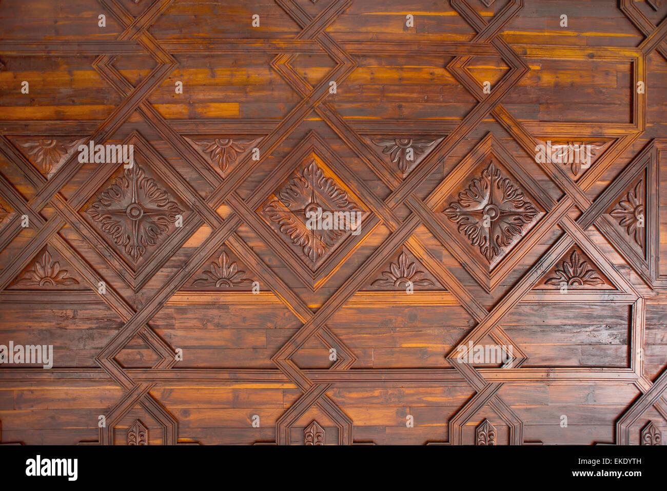 Holz Kassettendecke In Santa Cruz De La Palma Stockfoto Bild
