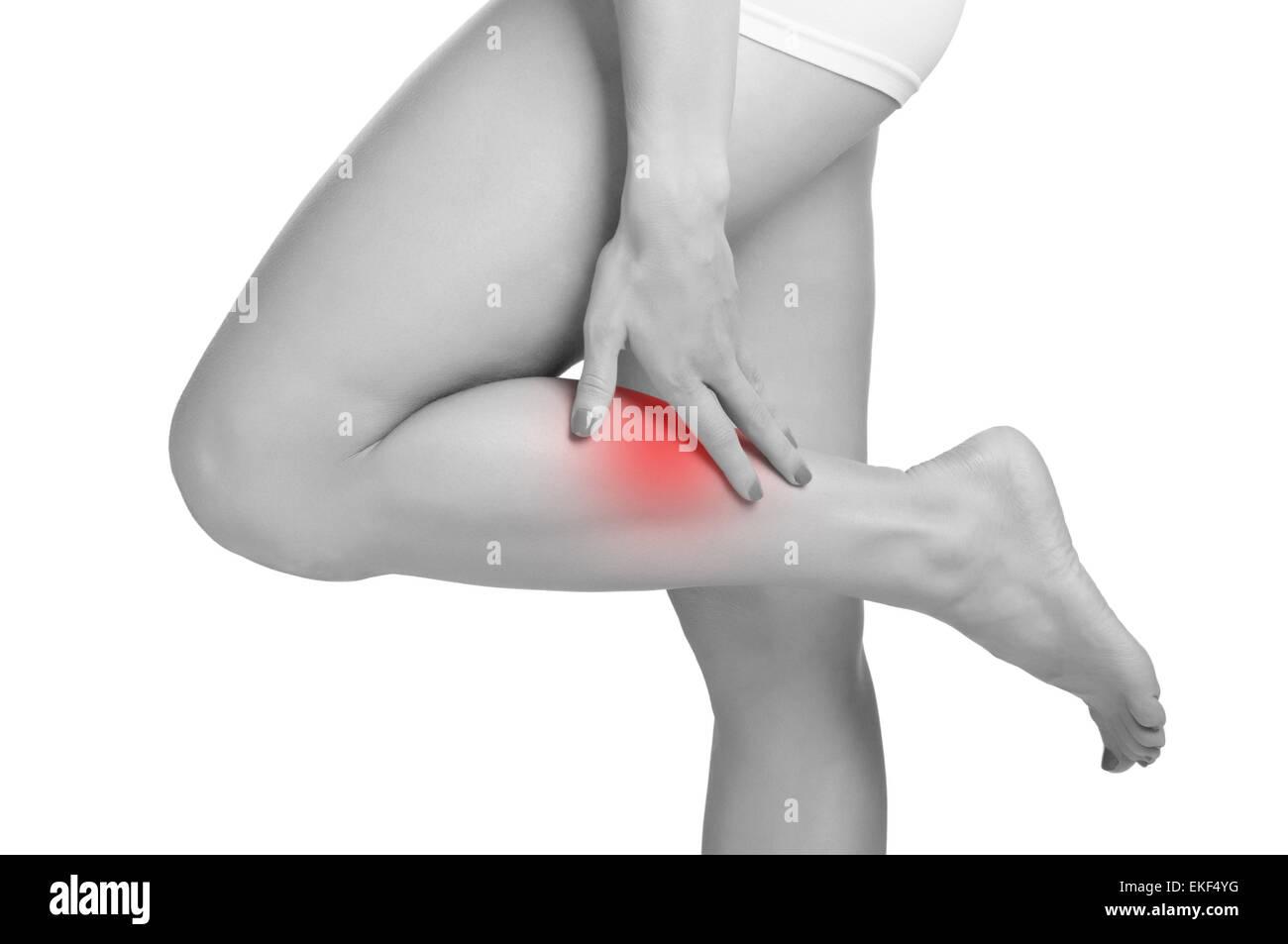 Schmerzen im Bein Stockbild