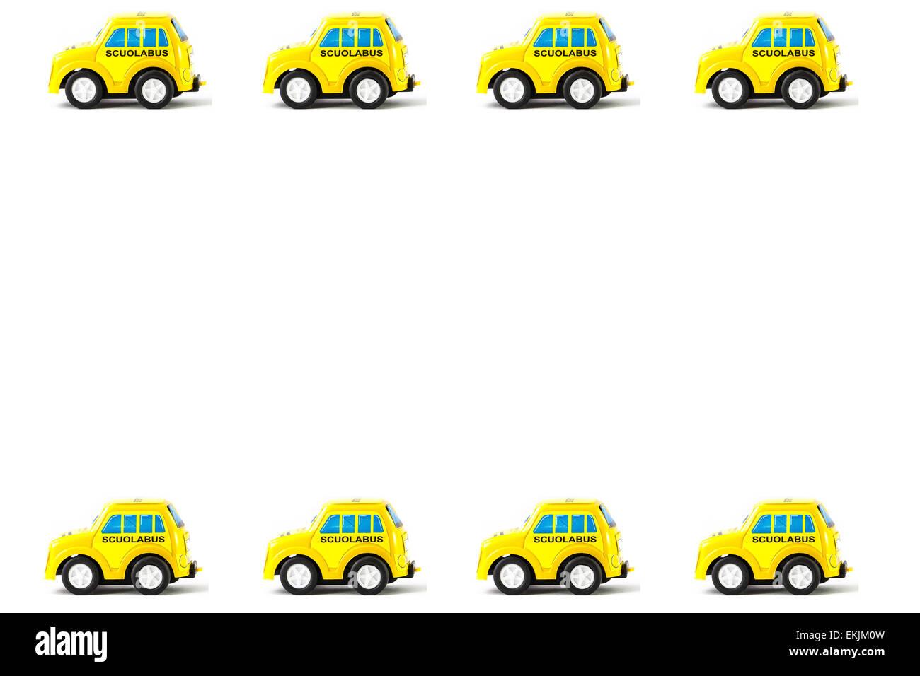 Rahmen der Schoolbus Spielzeug Auto, weißen Hintergrund Stockfoto ...