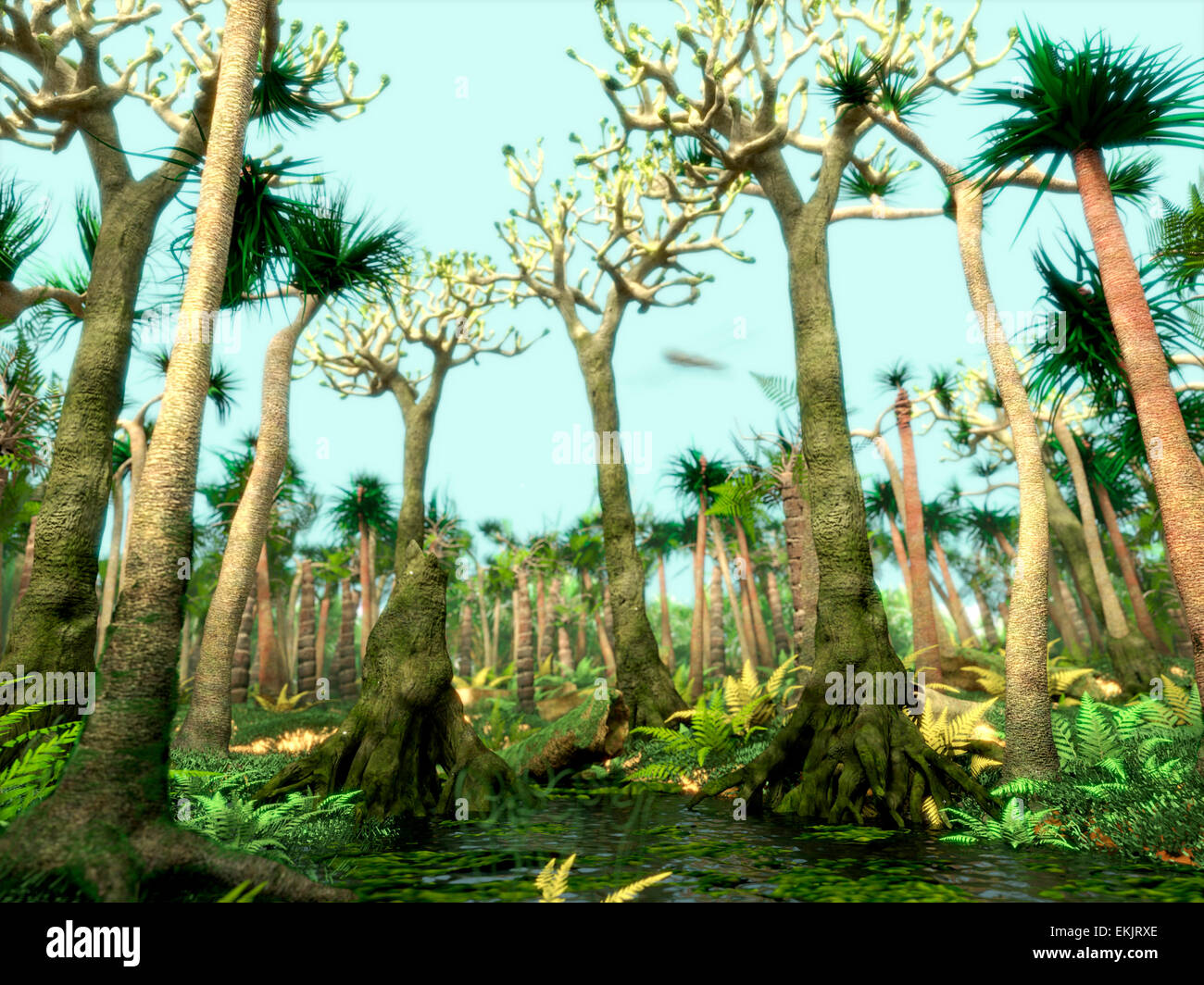Carboniferous Swamp Forest Stockfotos Carboniferous Swamp Forest