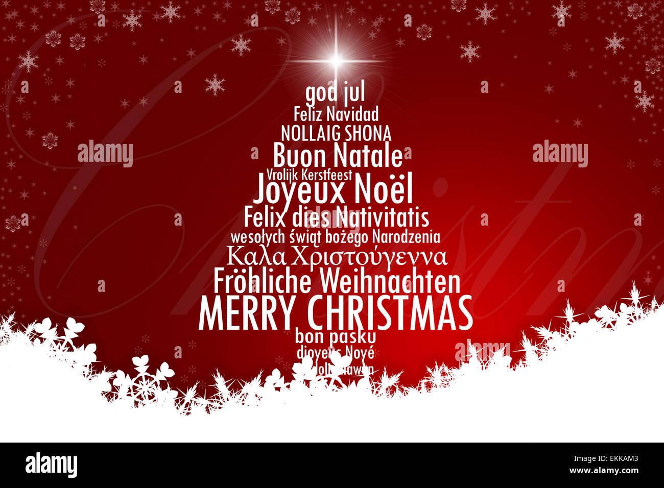 Stern Frohe Weihnachten.Ein Weihnachtsbaum Mit Frohe Weihnachten In Vielen Sprachen