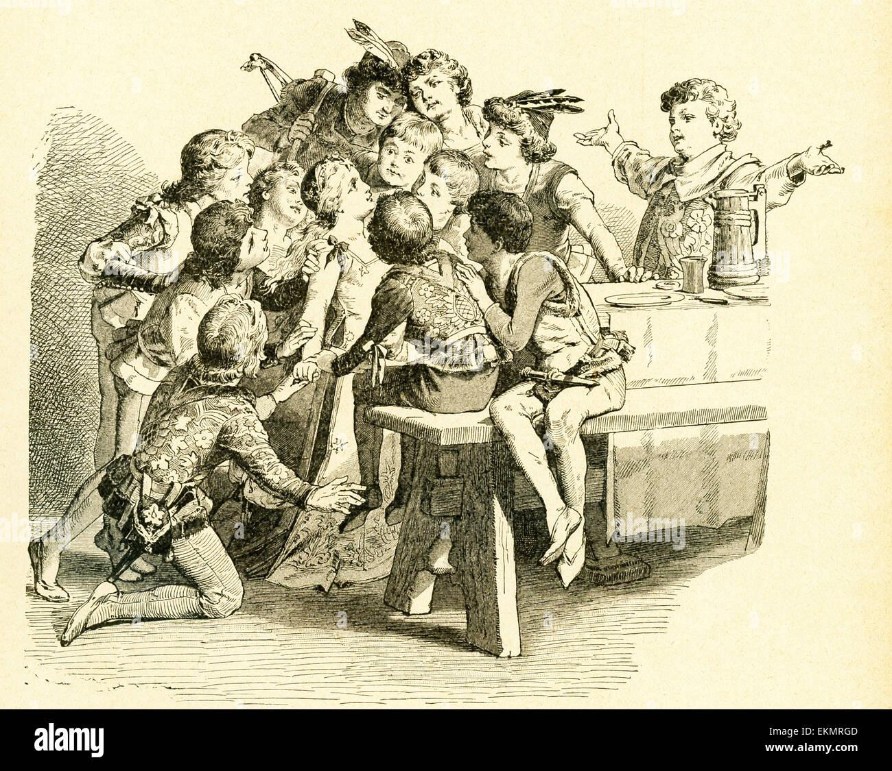 Im Jahre 1812 veröffentlicht Gebrüder Grimm, Jacob und Wilhelm, Kinder- und Hausmärchen, eine Sammlung Stockbild