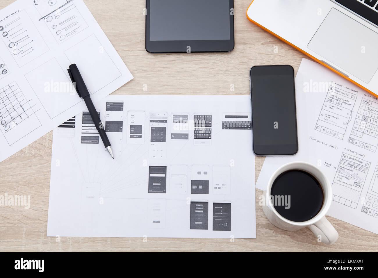 Workplace Developer Mobile Applications Laptop Stockfotos ...