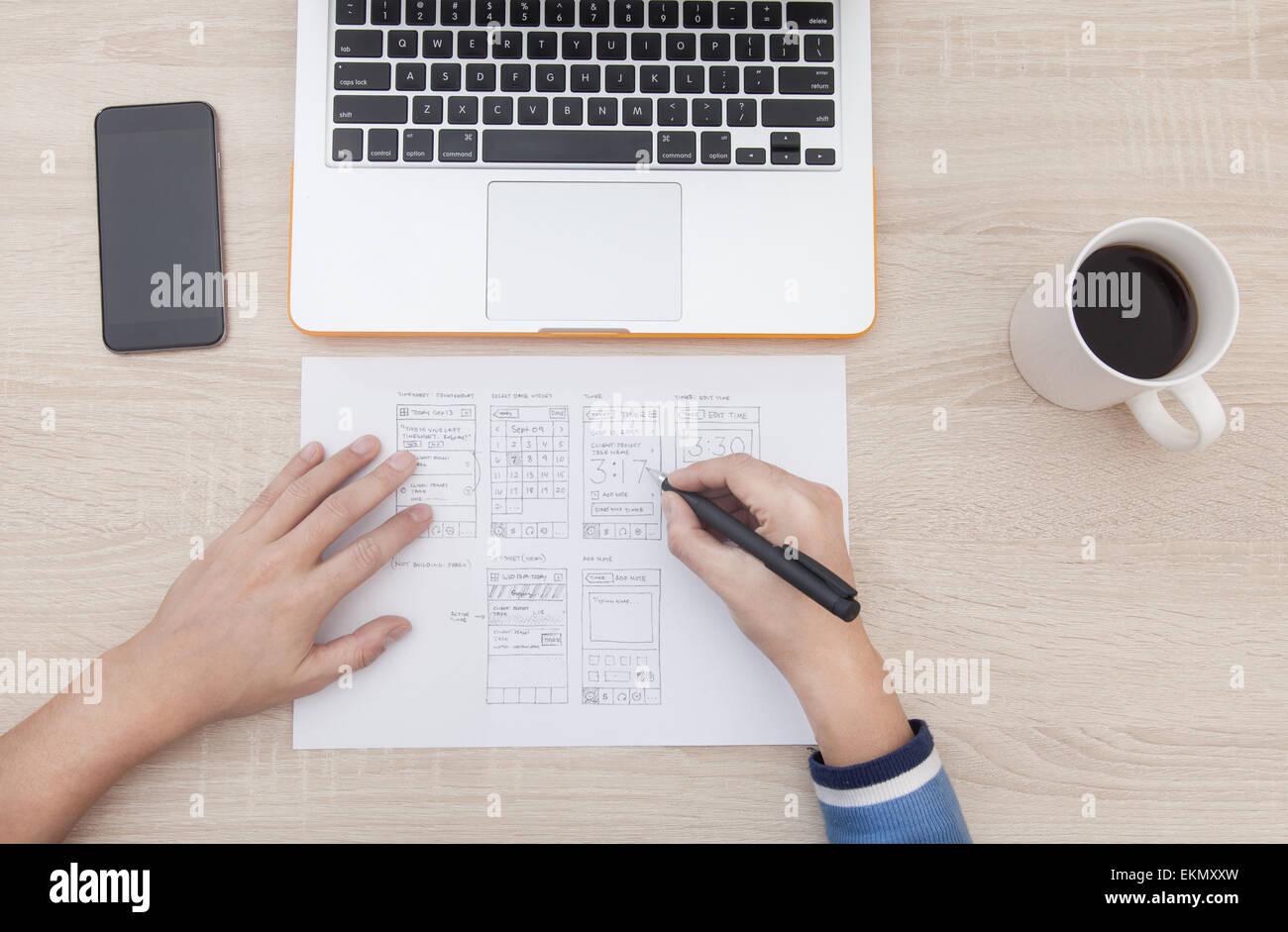 Arbeitsplatz-Entwickler von mobilen Anwendungen, Laptop, Notebook ...